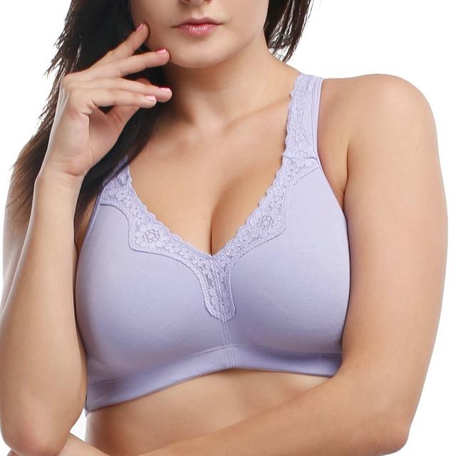 Cobertura Completa Wirefree Algodão Acolchoado Não Guarnição Do Laço das mulheres Plus Size Bra