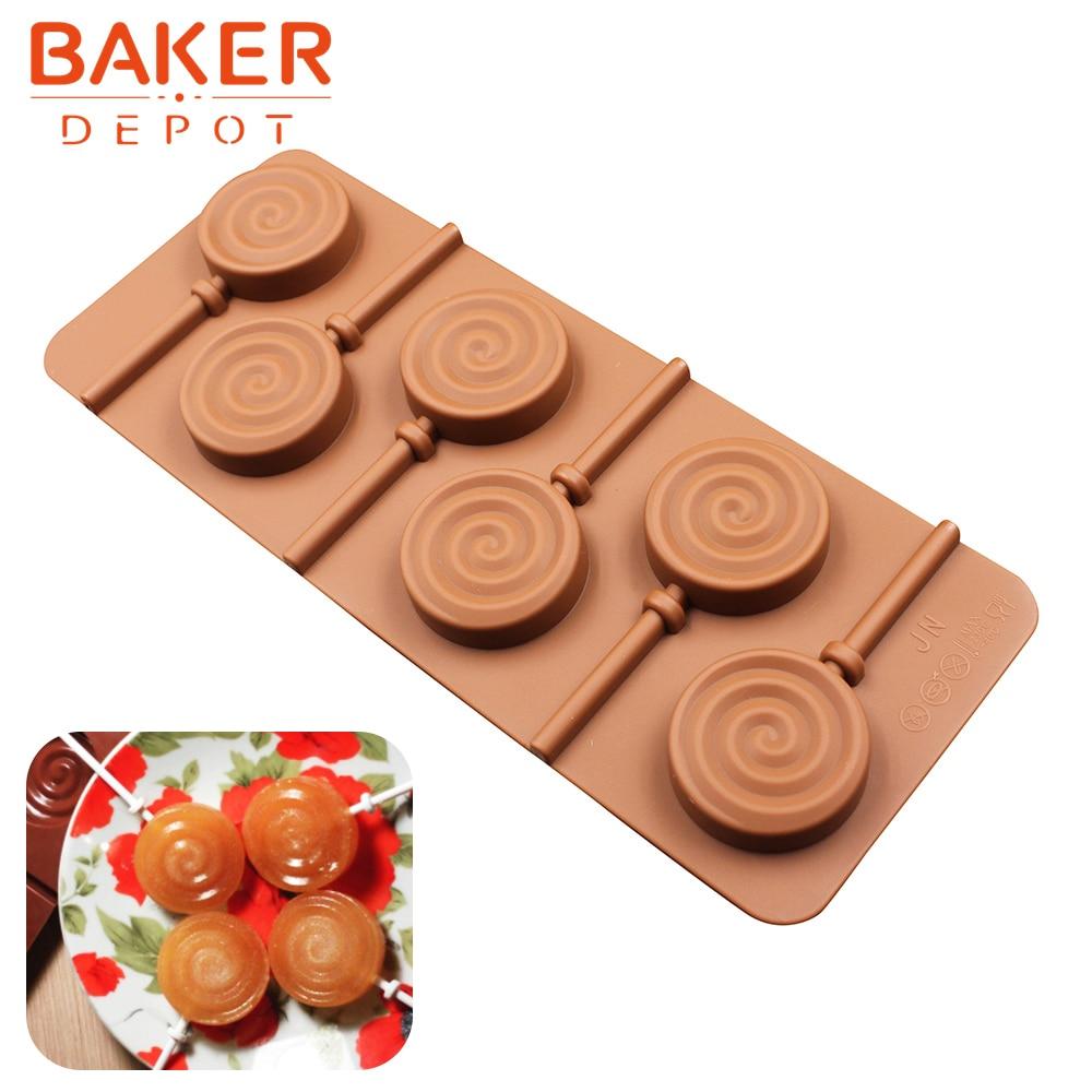 silikon Lollipop forma silikonové kruhy čokoládové formy ledová kostka bonbón formy dort sušenka decotation s plastovou tyčí 6 mřížky