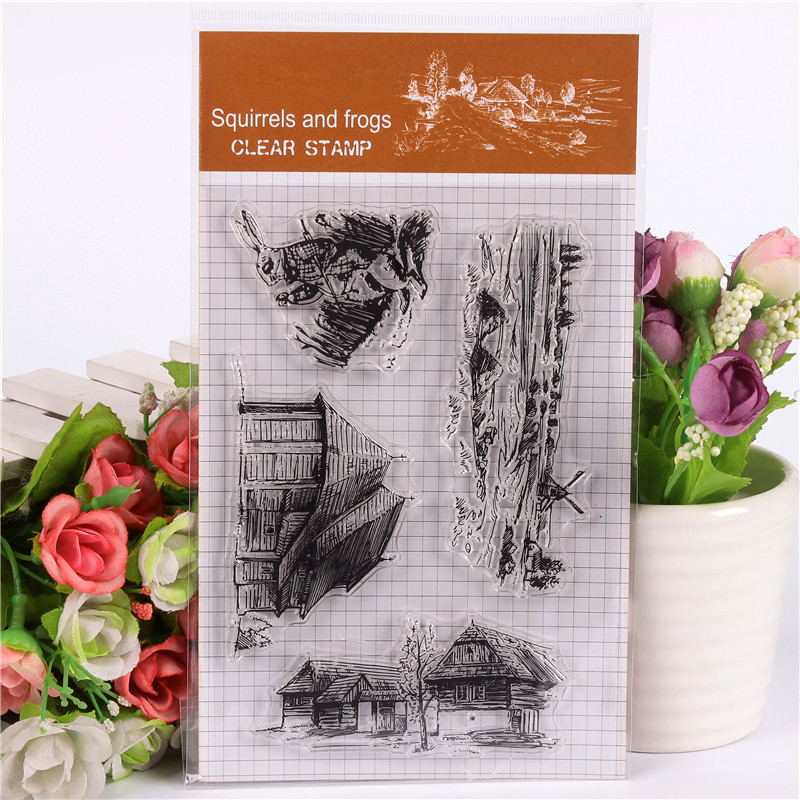 Rubber Silicone Clear Stamps for Scrapbooking Tampons Transparents Seal Background Stamp Card Making Diy Building house