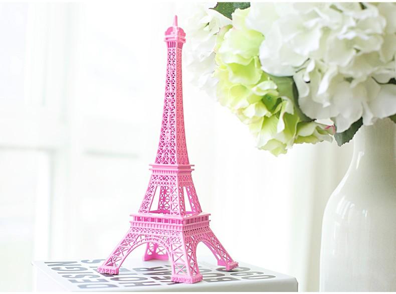 Romantic Pink Paris 3d Eiffel Tower Model Alloy Eiffel Tower Metal