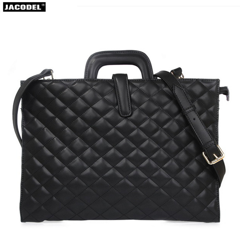 Jacodel Fashion Women Genuine Leather Laptop Sleeve Bag for Macbook Surface iPad Computer bag for Womens Handbags Messenger Bag
