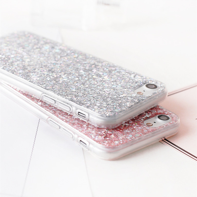 QINUO Shining Phone Case For Xiaomi Redmi 5 Plus 6 Note 5 6 7 Pro Bling Glitter Soft Cover For Xiaomi Mi 8 9 SE A2 Lite Fundas