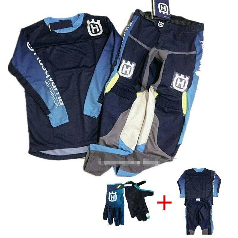 For Husqvarna Husky Style 2019 Men Motocross Suit Motobiker Racing Jersey Pants Motorcycle MX riding combination