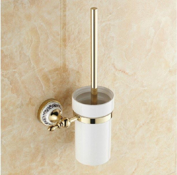 Us 43 18 15 Off Becola Golden Toilet Brush Holder Ceramic Cup Cleaning The Blue And White Porcelain Br 5508 In