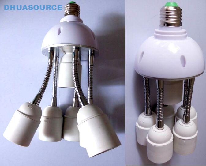 1 to 6 e27 lamp base 360 degrees lamp socket led light parts fish tank octopus shape e26 E27 lamp base DIY led accessories