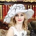2016 Nueva Negro Blanco de Las Mujeres Elegantes Sombreros de Fiesta de Boda de La Señora Cap