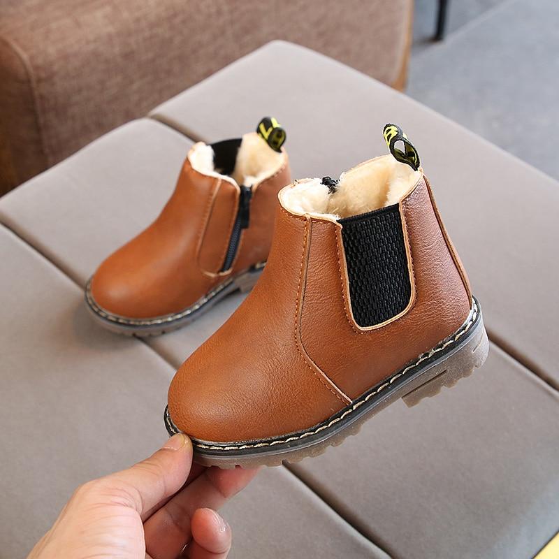 ULKNN Snow Boots For Kids Winter Shoes Boys Girls Boots Elastic Band Waterproof Leather Plush Outdoor School 2018 bota infantil