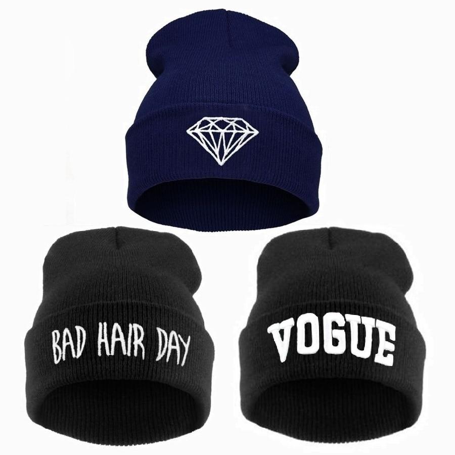Bad hair day gorro de inverno mulheres homens Diamante gorros chapéu VOGA, gorro de esqui de malha skullies gorro de crochê casquette, gorros de lana