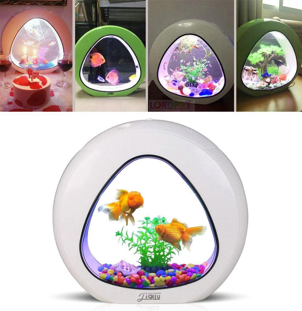 Aquarium 4L Mini Nano Tank For Ecology Beta Fish Integration Filter LED Light System Office Aquarium