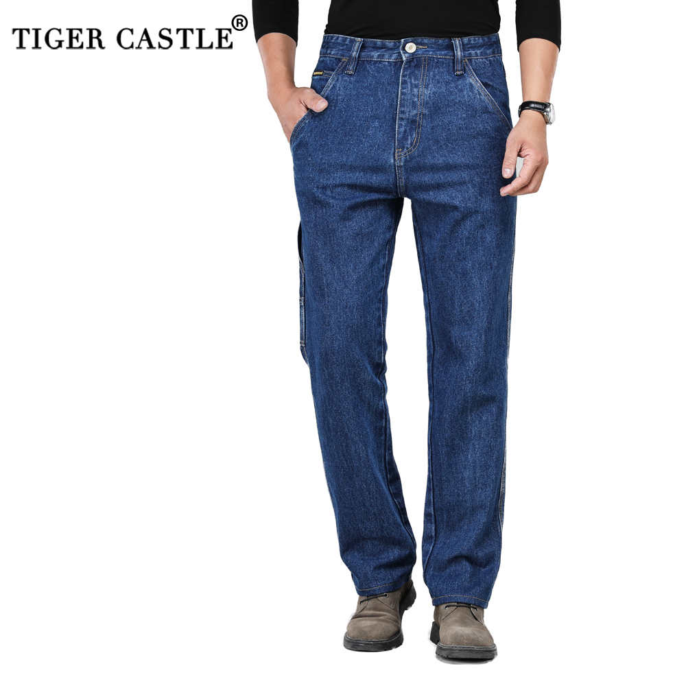 Winter Autumn High Waist Thick Cotton Fabric   Jeans   Men Casual Classic Straight   Jeans   Male Denim Multi-Pocket Pants Overalls