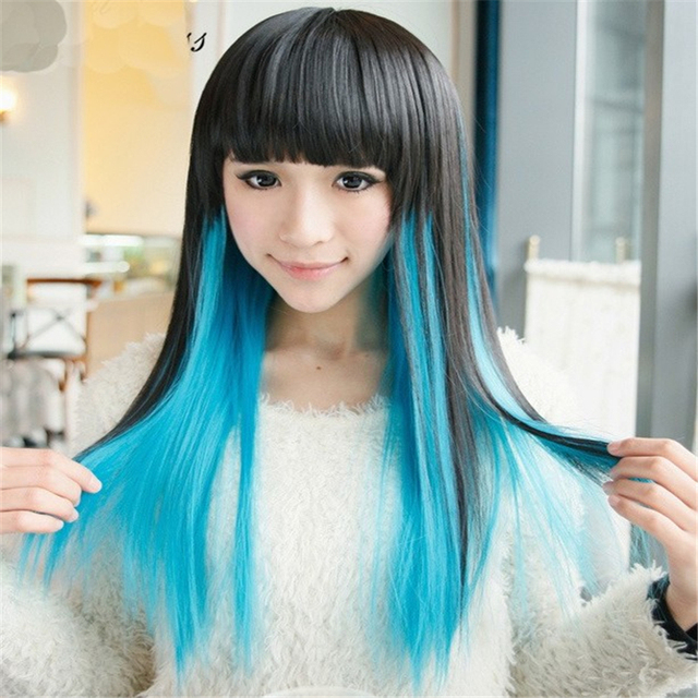 1a48d17df3dac1 1pcs High Quality long Realistic Wigs Women Natural Black+Blue Synthetic Wigs  Female Anime Cosplay