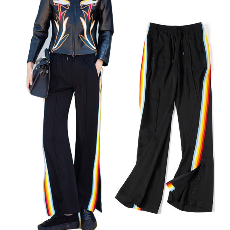 Uwback 2017 Rainbow Side Stripe Wide Leg Pants Women