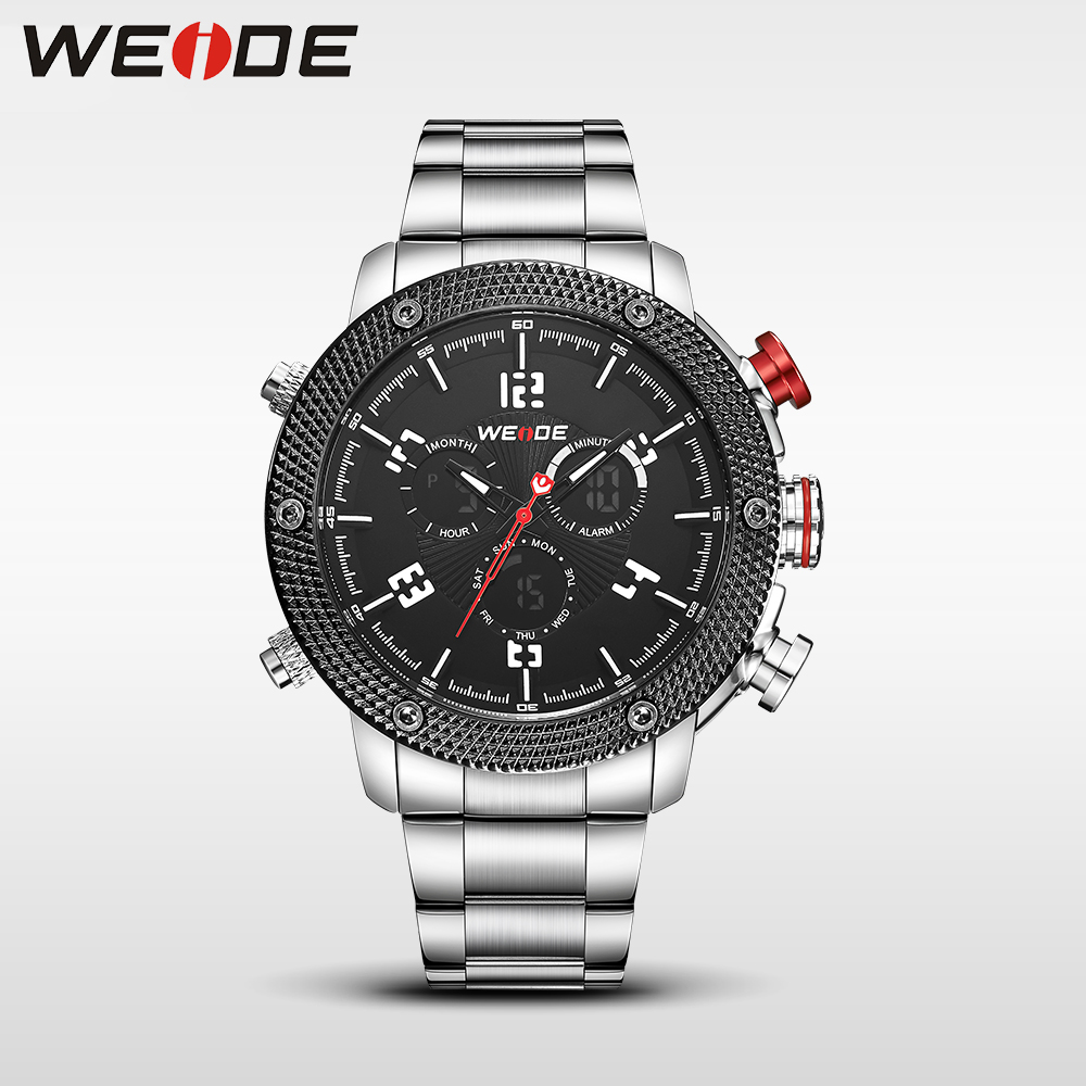 WEIDE Casual genuin new Watch Men Quartz Digital Date Alarm  Waterproof Fashion  Clock Relogio Masculino Relojes Double display weide 2017 new men quartz casual watch army military sports watch waterproof back light alarm men watches alarm clock berloques