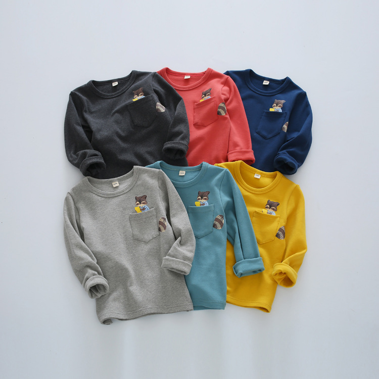 Boys Sweatshirts Long Sleeve Cartoon Children T Shirts Cotton Baby Boys Girls Pullover Tops 2017 KidsToddler Infant Tees Clothes