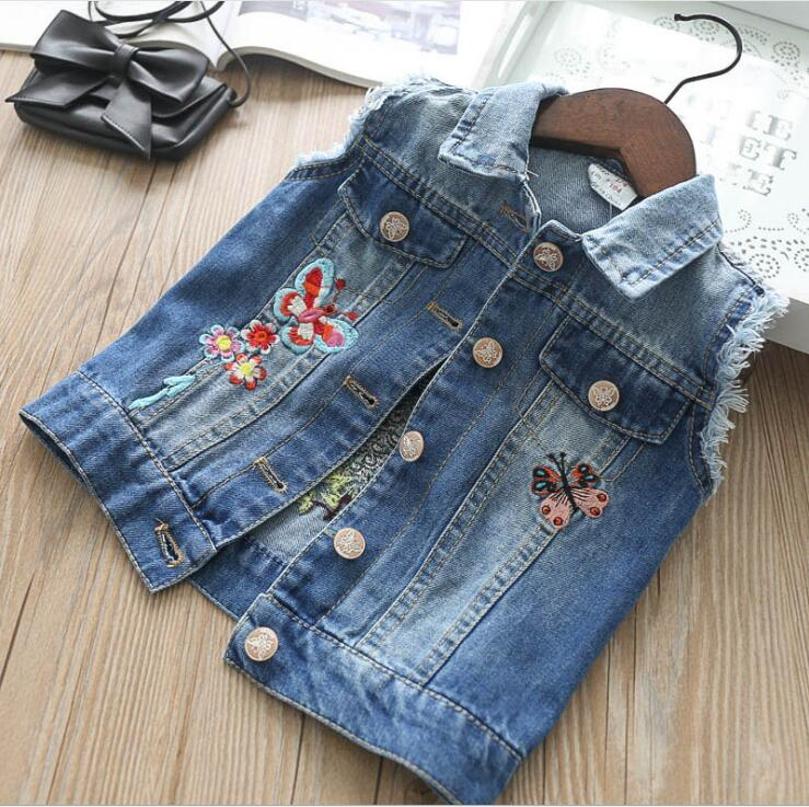 Baby Girl Vest 2018 Fall Kids Clothing Embroidery Butterfly  Kids Cotton Vest Fashion High-grade  Children Princess Clothing