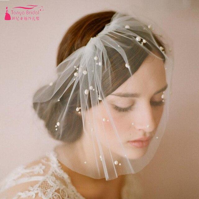 Vintage Wedding Dresses 2018 Blusher Veil Covered Face Pearls Bridal Veils Zv010