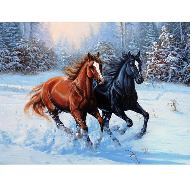 Animal two horses picture 5D diamond painting cross stitch DIY cotton silk  embroidery mosaic pattern wall decor