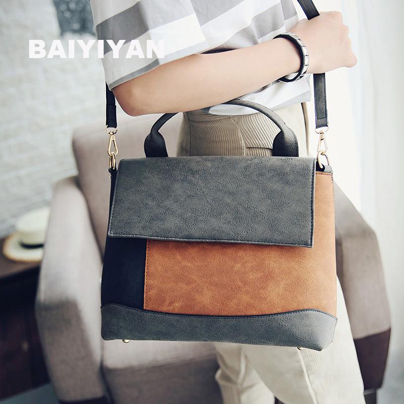 Prix pour Mode Patchwork sac à main Femmes nubuck En Cuir fourre-tout sacs à main de haute qualité artificielle en cuir bureau sac Sort Couleur Sac À Main