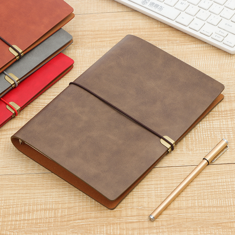 RINGCA A5 Loose-leaf Notebook Business Travel Book Soft Leather Strap Notebook 1PCS 2018 fashion business notebook business loose leaf notebook a5 notebook with calculator multi functional loose leaf
