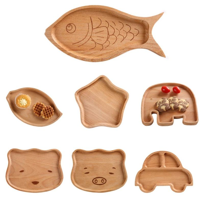 Children Kids Wooden Food Plate Tray Dish Natural Cute Catoon Tableware Handcraft Animal Natural Tool