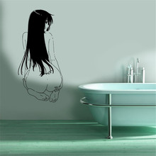 Free shiping diy wallpaper home decoration Wall Mural Vinyl Sticker Decal Anime Manga Sexy Girl Sitting Back wall stickers