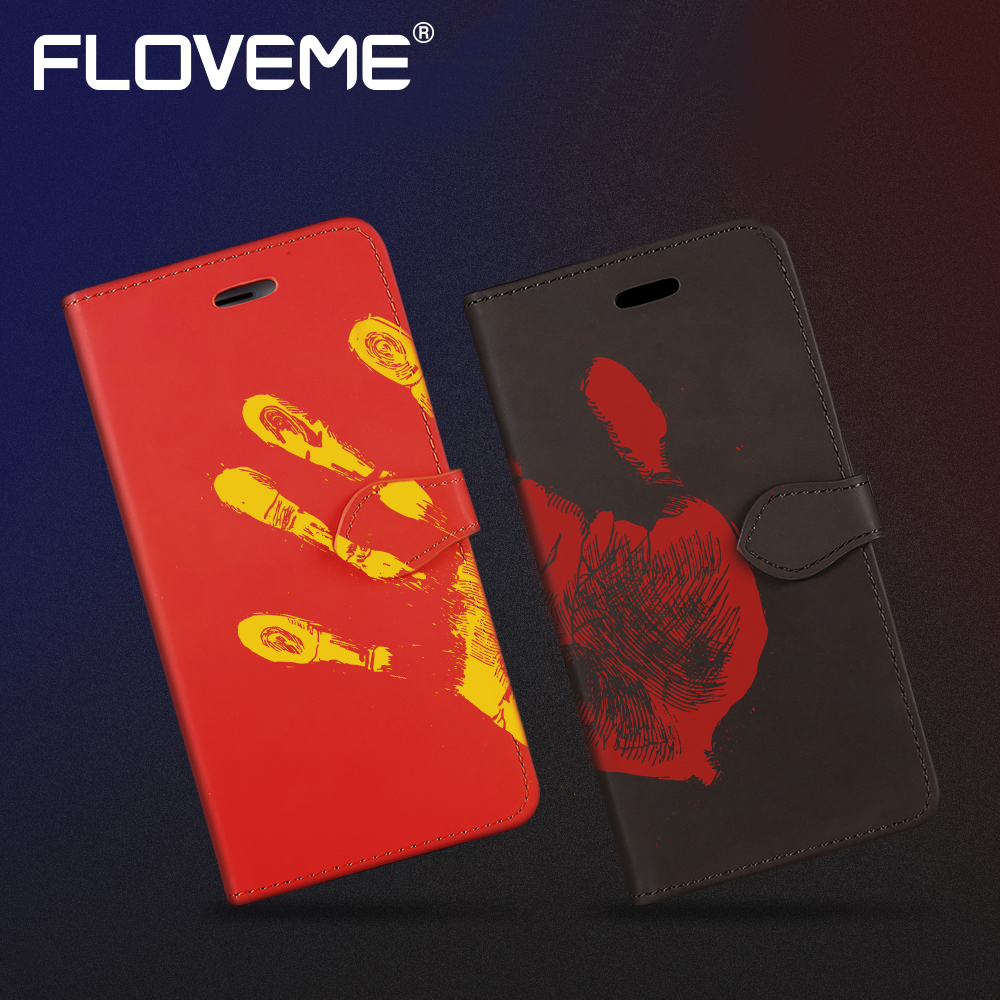 FLOVEME Thermal Sensor Leather Case For Samsung Galaxy S8 Plus Holder Stand PU Holster Wallet Phone Bag Case For Galaxy S8 Cover