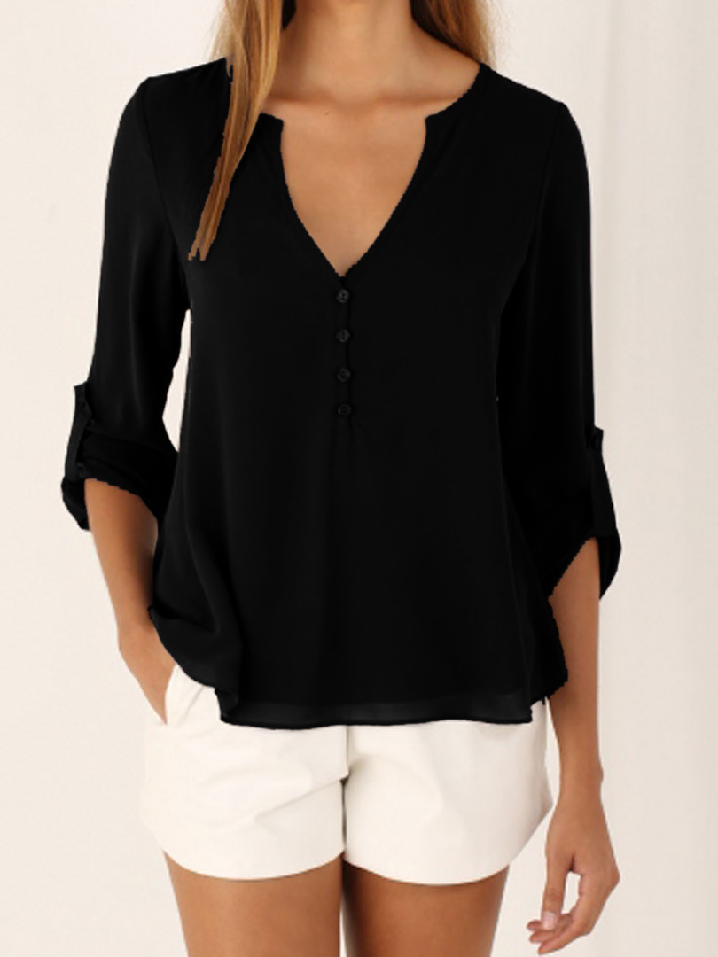S-5XL Women Deep V Neck Shirts 2019 Summer Button Long Sleeve Ladies Tops Chiffon Shirts Solid Elegant Top Black Casual Blouses