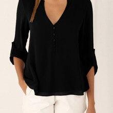 S-5XL Women deep v neck Shirts 2019 Summer button long sleev