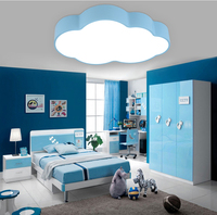 Modern brief children bedroom decoration paint blue cloud design iron ceiling lamp acrylic lampshade LED lighting