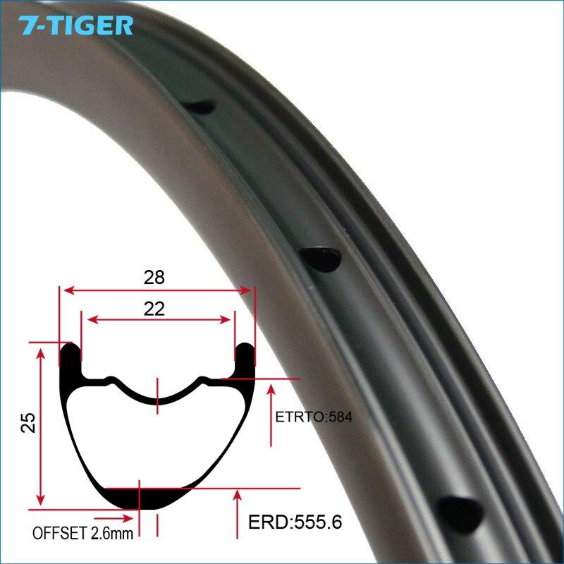 7 Tigre 27,5 ER gancho XC 29er MTB borde offset de carbono 28mm de ancho 25mm llanta de clincher profundo llantas asimétricas con agujeros de perforación 24/28/32 H - 5