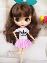 Free shipping Handmade 1/6 Fashion Doll Clothes White T-shirt+Pink skirt Doll accessories for Blyth doll clothing Toys Gift