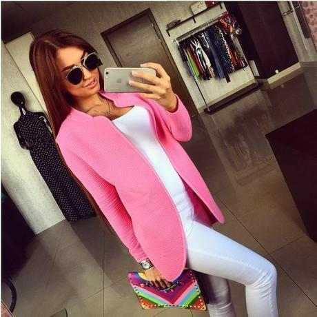 Popular nova moda outono casual jaquetas outwear luva cheia sólidos aberto ponto básico casacos mulheres jacket clothing