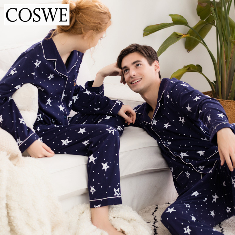 2c93a1bb6e COSWE New Winter Men Pajama Sets 100% Cotton Long Sleeves Pyjamas Set Mens  Pijamas Masculinos Autumn Star Homme Pajamas Suit-in Men s Pajama Sets from  ...