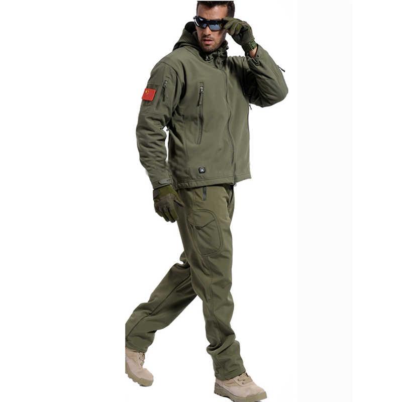 Jaqueta SoftShell dos homens & das mulheres ao ar livre caminhadas pesca Caça camuflagem tático uniforme militar casaco de lã À Prova D' Água