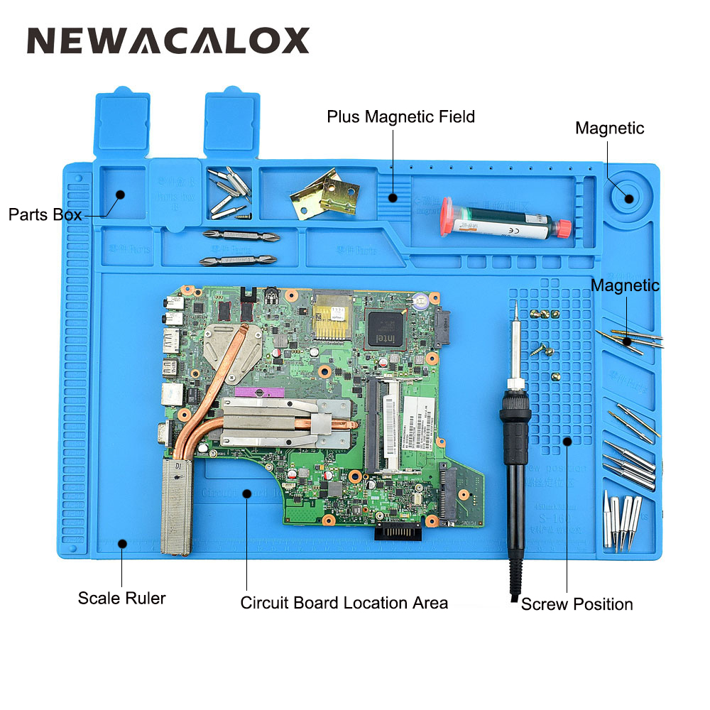 NEWACALOX Heat Insulation Silicone Pad Desk Mat Maintenance Platform for BGA Soldering Repair Station With Magnetic Section 2 in 1 heat insulation silicone soldering pad desk mat maintenance platform for bga soldering repair station