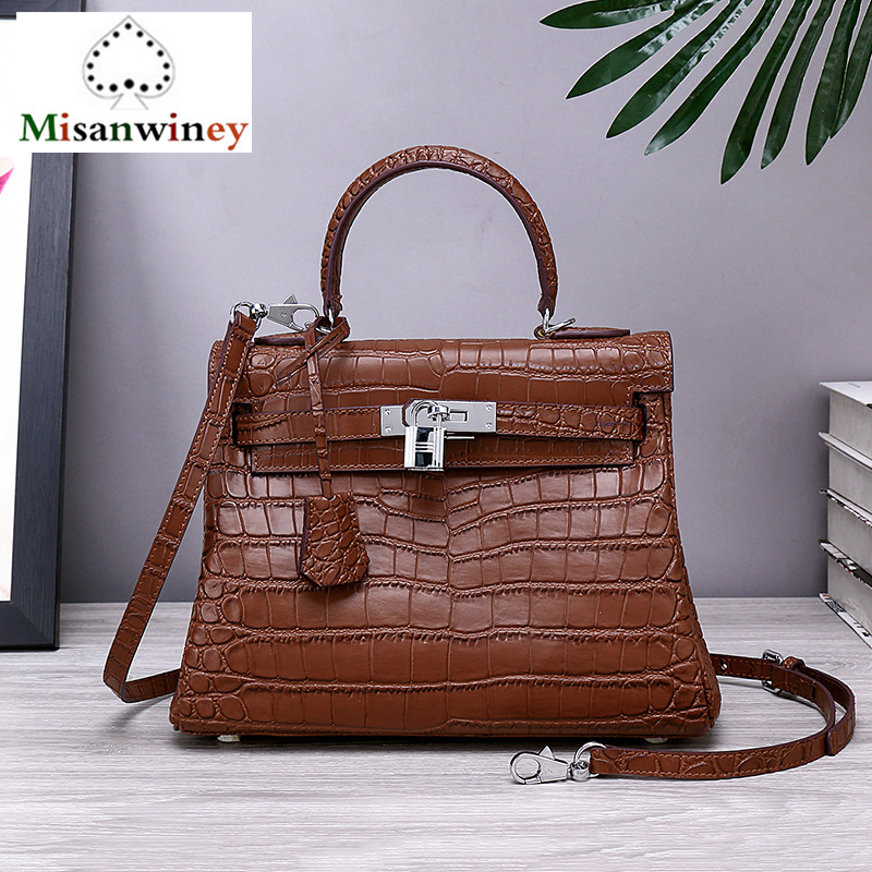 Quality Guaranteed~Fashion Crocodile Pattern Women Genuine Cowhide Leather Handbag\Bag Designer Ladies Tote Shoulder Bag Channel candy colors bag quality guaranteed 2015 new fashion pu leather women handbag bag designer tote bag bride bag free shipping 96