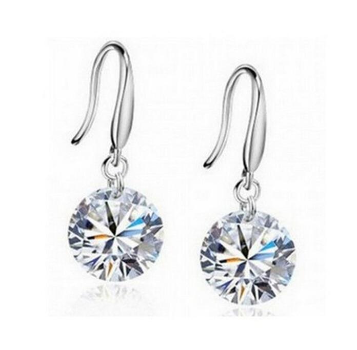 Shuangr Silver Color Earrings Clear Cubic Zirconia Drop For Women Wedding Femme Fine Jewelry