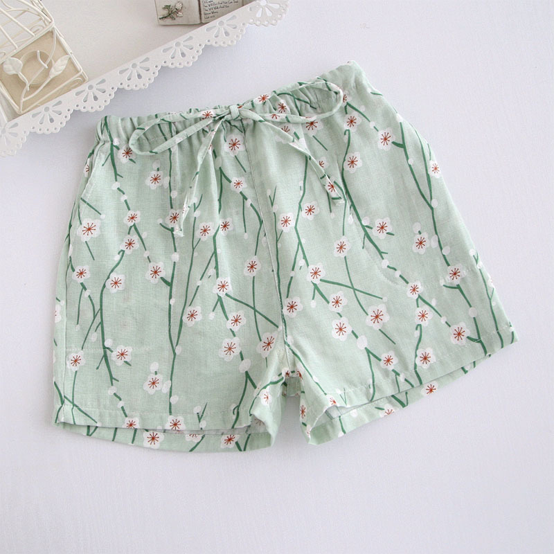 Summer pajama pants women short sleeping pant floral printing cotton pijama pants ladies homewear sleep bottoms A0857