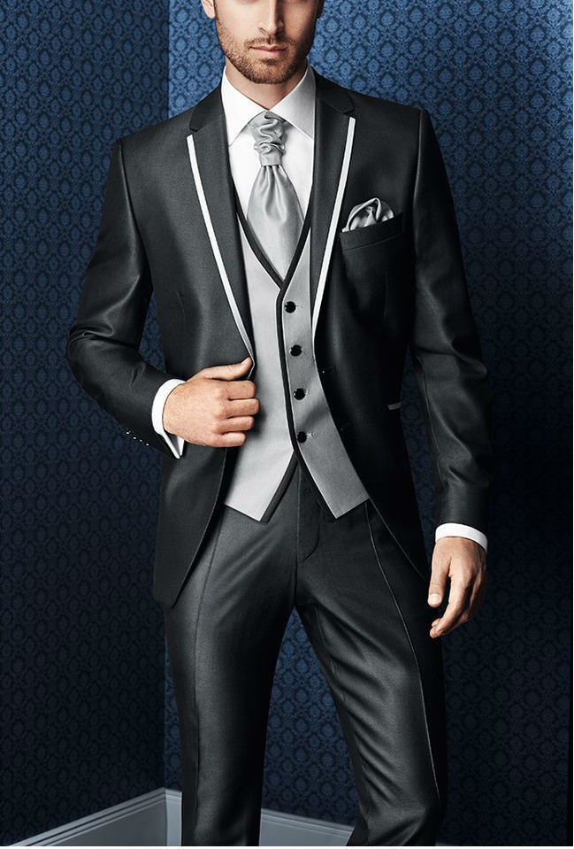 New tailored dark Grey Ball gown lapel grooms mens four pieces ...