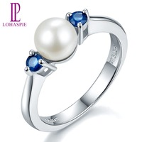 Lohaspie Solid 925 Sterling Silver 7mm Fresh Water Pearl Blue Sapphire Ring New Arrival For Women