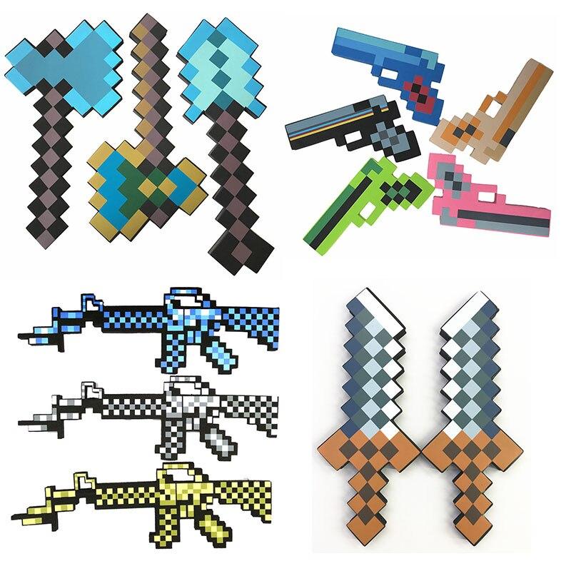 Hot Minecrafted Toys Minecrafted Foam Diamond Gun Sword Pickaxe Axe EVA Model Toys Gift