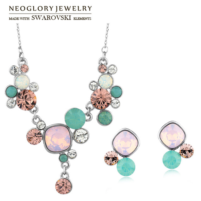 Neoglory MADE WITH SWAROVSKI ELEMENTS Crystal   Rhinestone Jewelry Set  Colorful Trendy Style Necklace   Earrings 0b2576eb927e