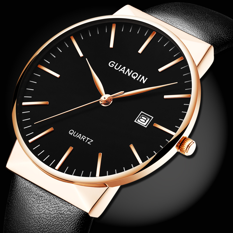 ФОТО Men Watches Top Brand Luxury New GUANQIN Simple Fashion Men Ultra Thin Quartz Watch Leather Strap Wristwatch relogio masculino