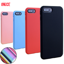 7 Plus Solid Color Silicone Case on For iPhone 7 Case Soft Cover Coque For Apple iPhone X 6 6S 7 8 Plus 7Plus 6Plus 32 64 128 GB