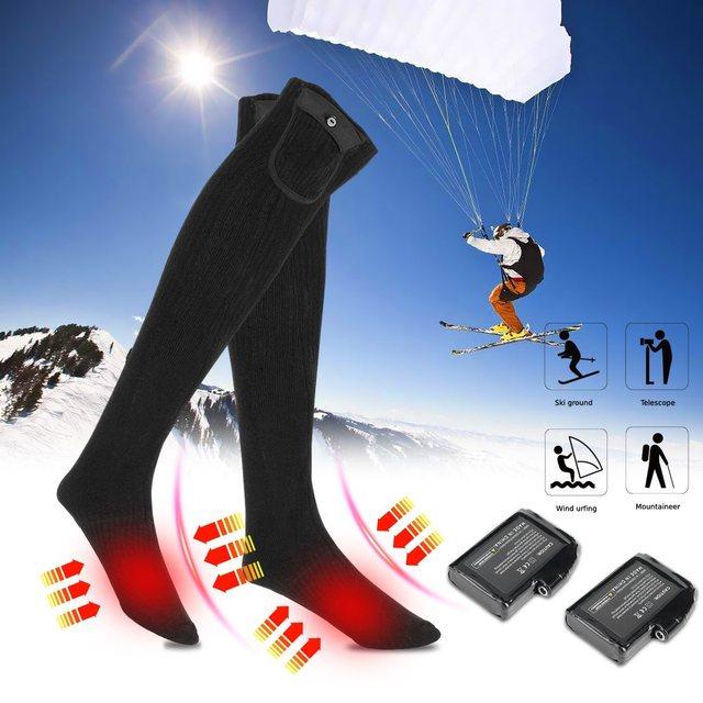 976e2565f3 3.7V 4000mAh Electric Heated Socks Rechargeable Lithium Battery Heating  Cotton Black Winter Socks For Men