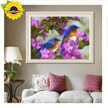 Aml Home 5d full stones paste wall decor diamond painting blue birds on the purple flowers resin crystal cross stitch kit bird