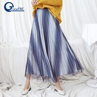 2018 Autumn and Winter New Korean Female A Word Mesh Skirt Women's Elastic Waist Long Section Blue Gradient Long Pleated Skirts