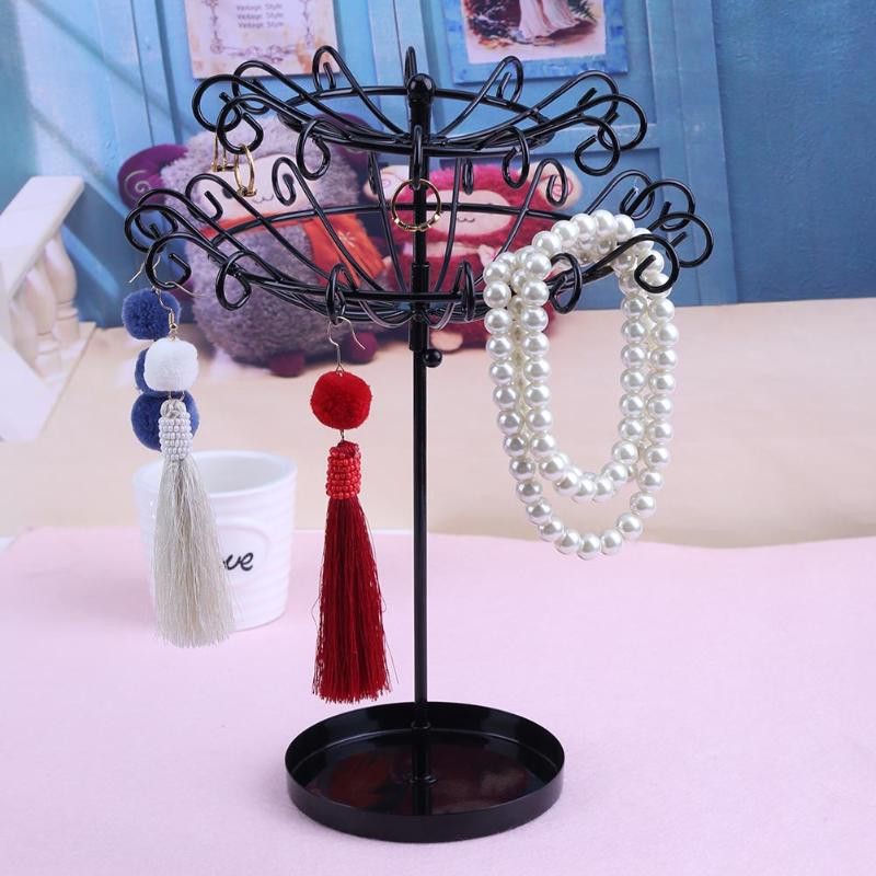 Double Layer Rotating Rack Jewelry Metal Holder Organizer Earrings Bead Necklace Bracelet Revolving Display Stand Holder