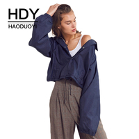 HDY Haoduoyi Brand 2017 Christmas New In Solid Navy Blue Women Coats Lace Up Single Breasted Crop Tops Casual Female Jackets