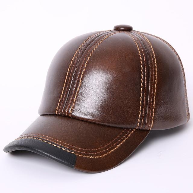Otoño Invierno cuero genuino techo orejeras sombrero plano masculino ocio  terciopelo béisbol 55-60 cm 0748d555cdb